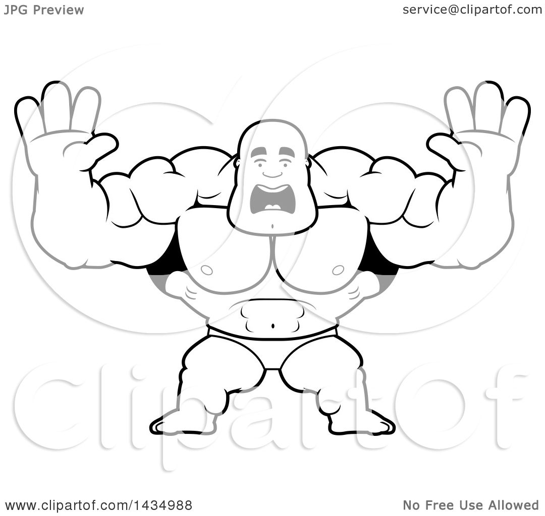 Clipart Of A Cartoon Black And White Lineart Scared Buff