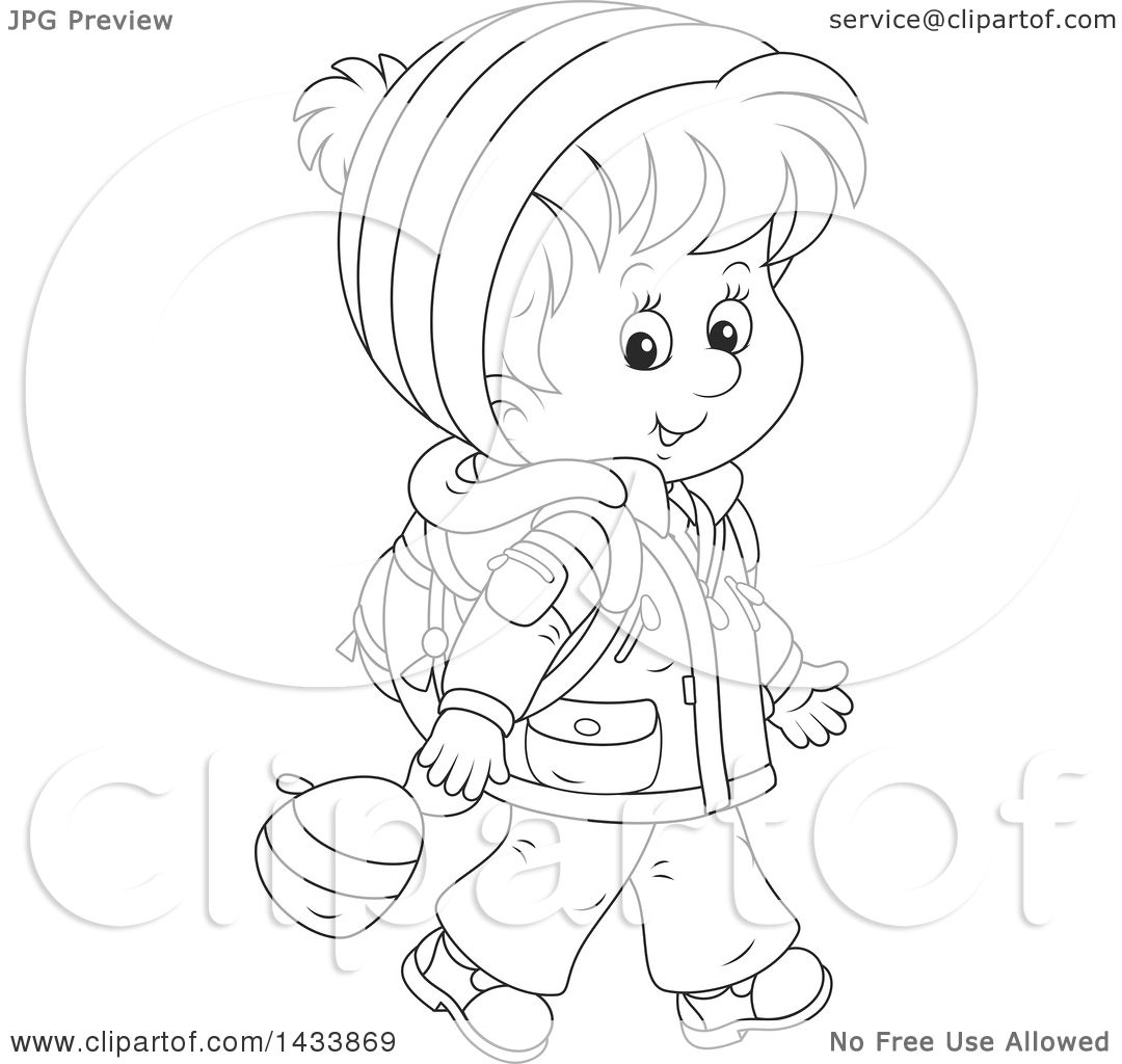 Clipart Of A Cartoon Black And White Lineart School Boy