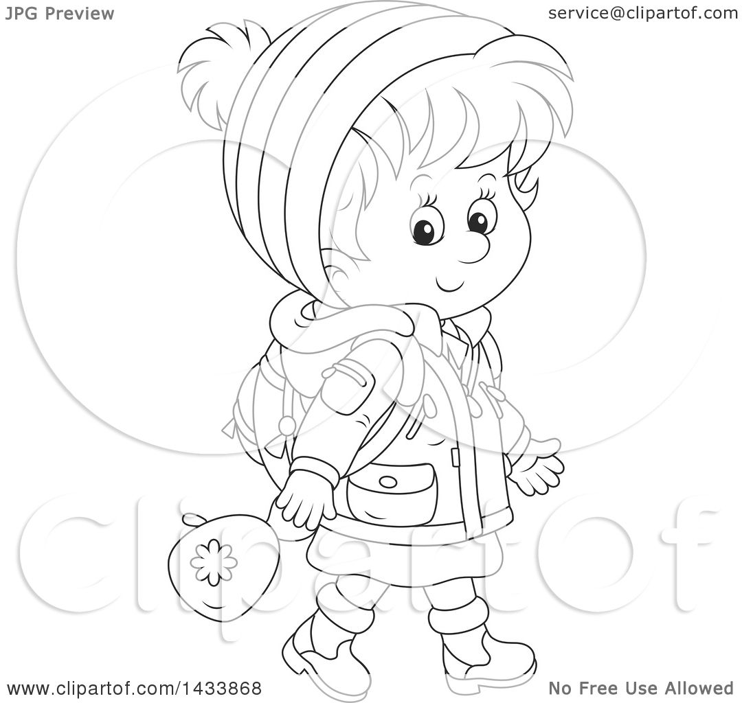 Clipart Of A Cartoon Black And White Lineart School Girl Walking In Winter Apparel