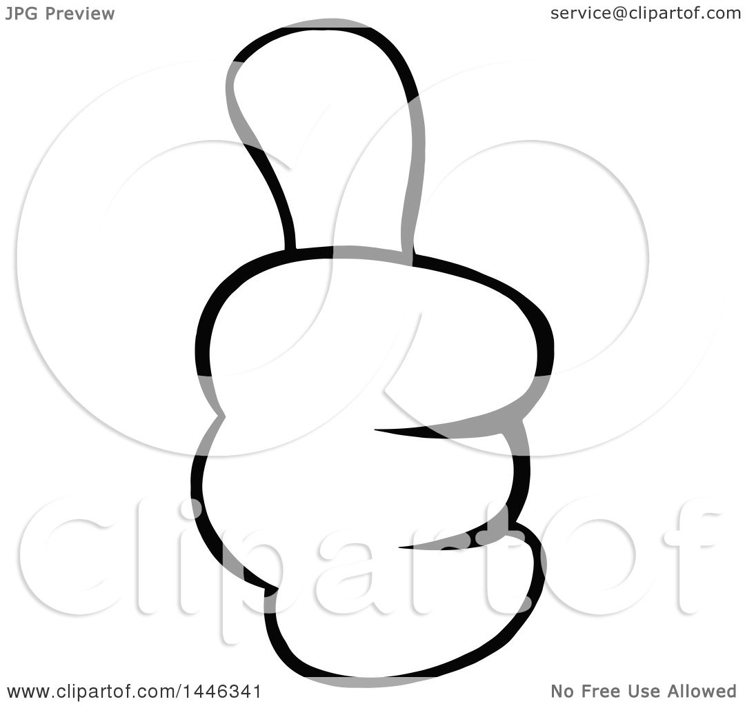 Clipart Of A Cartoon Black And White Lineart Thumb Up