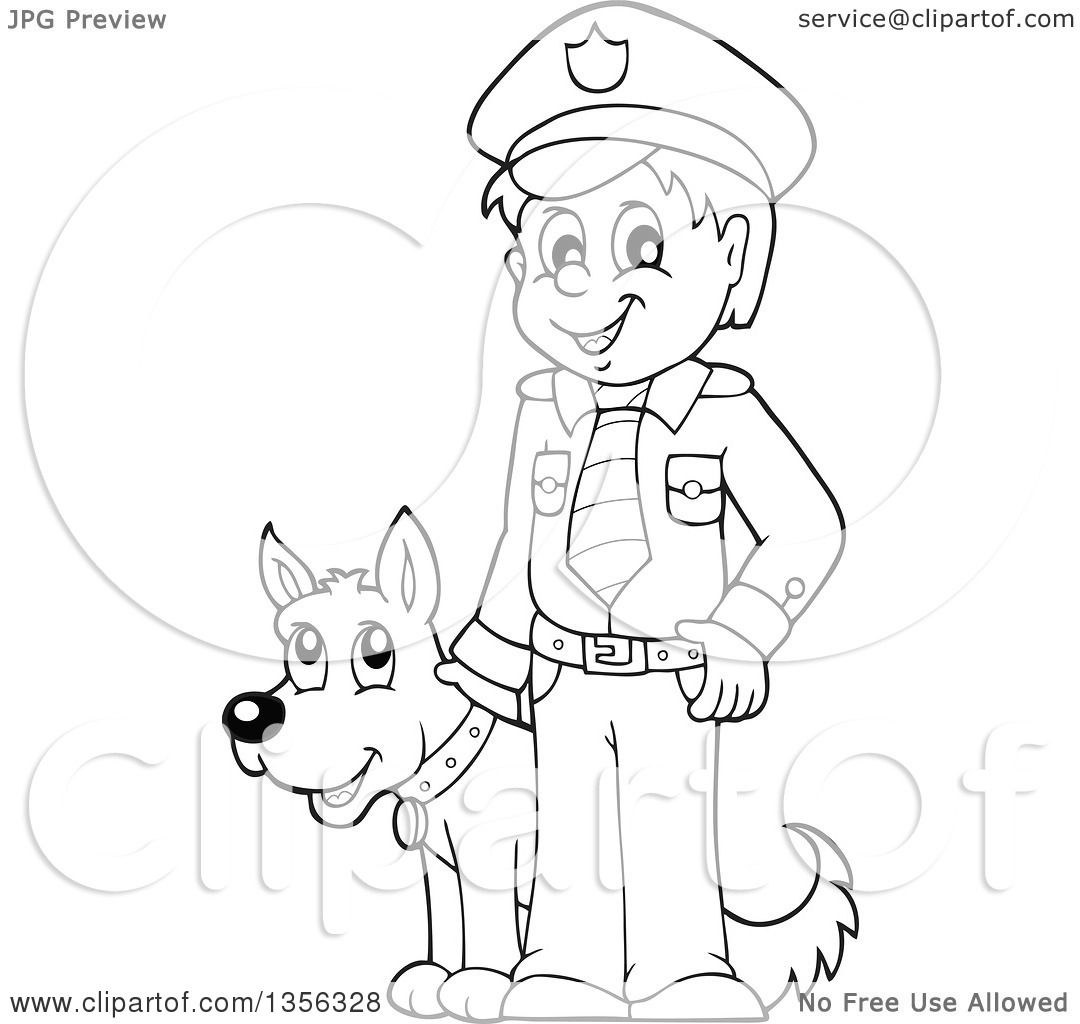 Clipart Of A Cartoon Black And White Male Police Officer