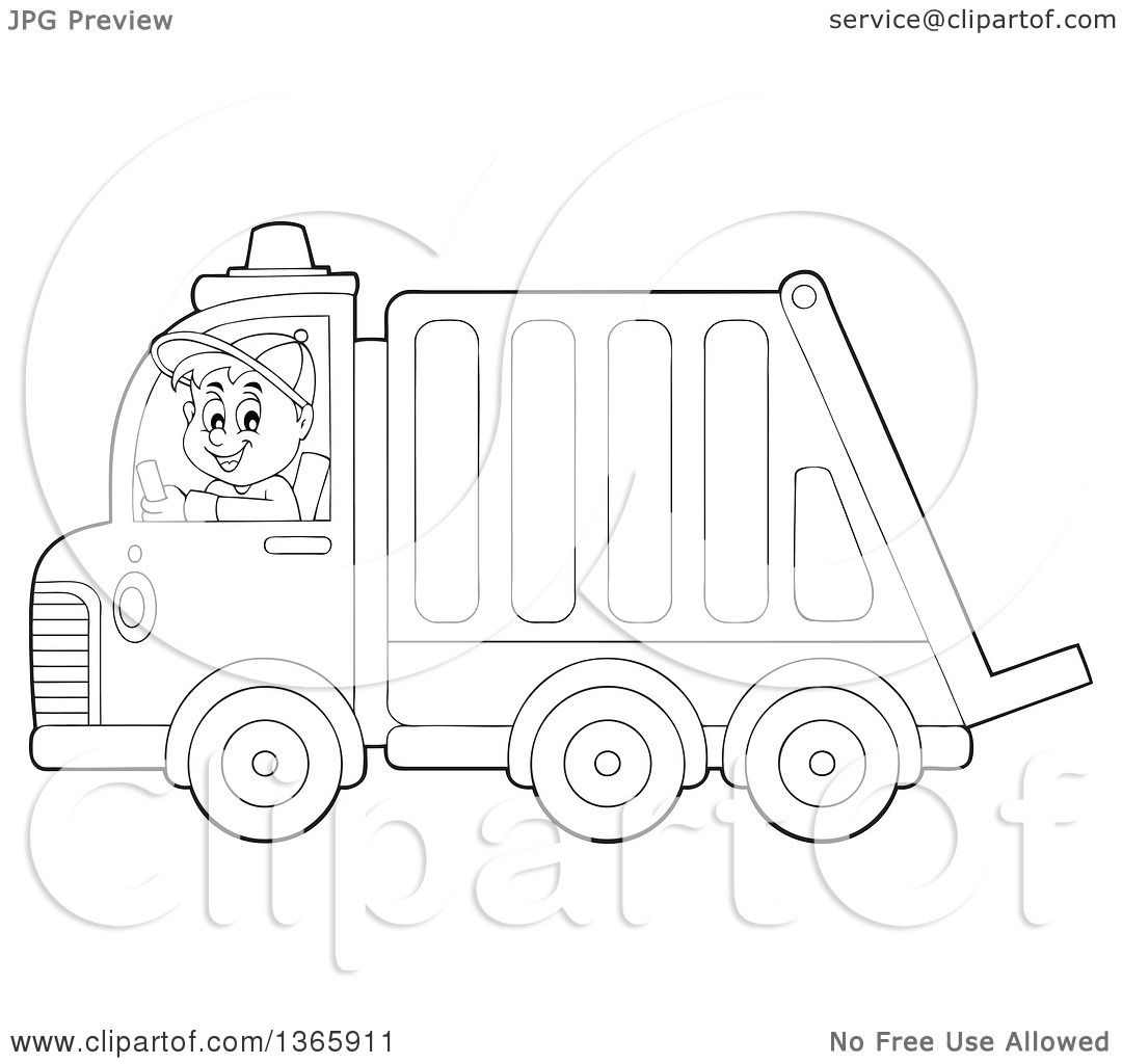 Clipart Of A Cartoon Black And White Man Driving A Garbage