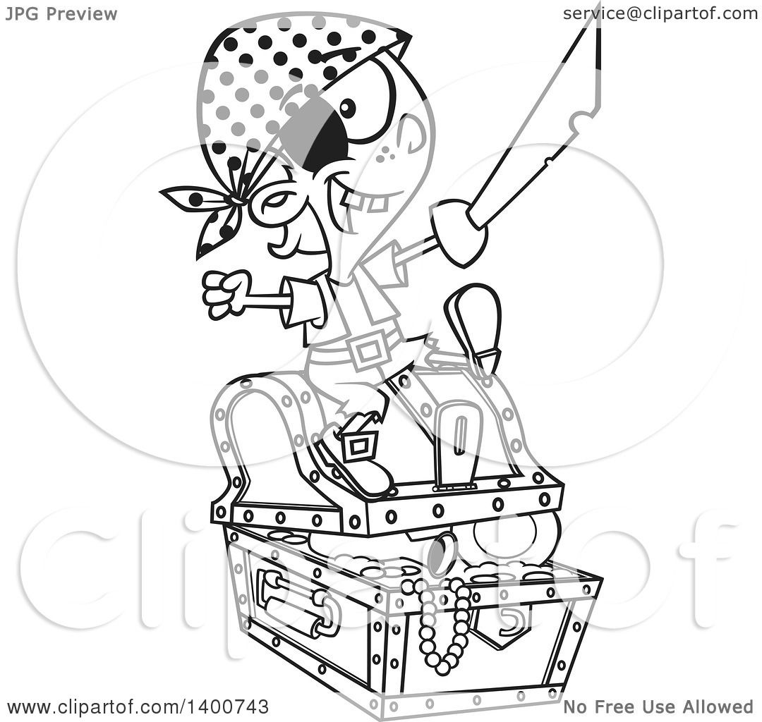 Clipart Of A Cartoon Black And White Pirate Boy Holding A