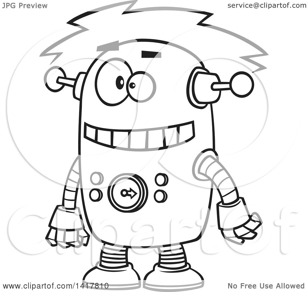 Clipart Of A Cartoon Black And White Robot Experiencing A