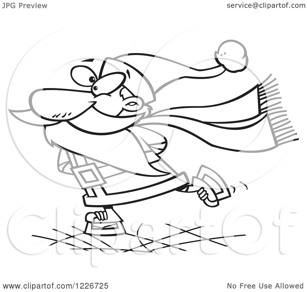 Clipart Of A Cartoon Black And White Santa Claus Ice