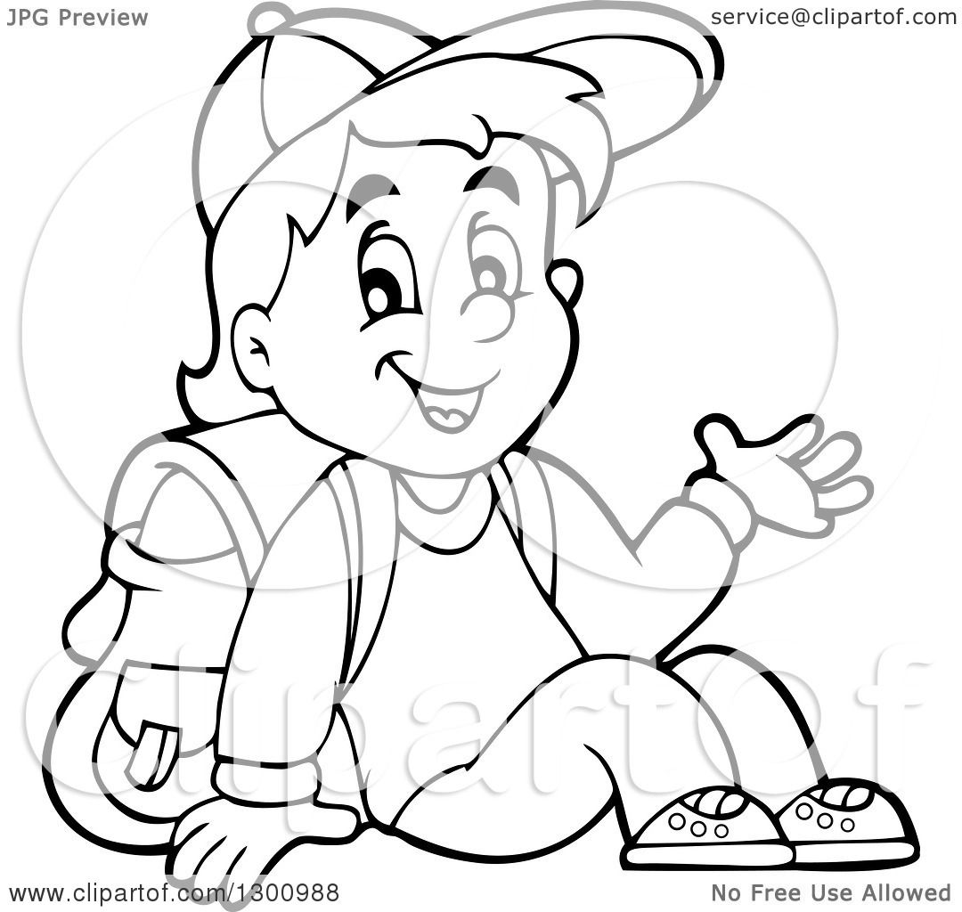 Clipart Of A Cartoon Black And White School Boy Sitting And Waving