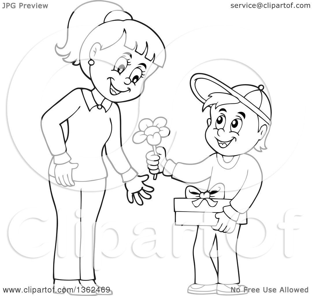 Clipart Of A Cartoon Black And White Thoughtful Boy Giving