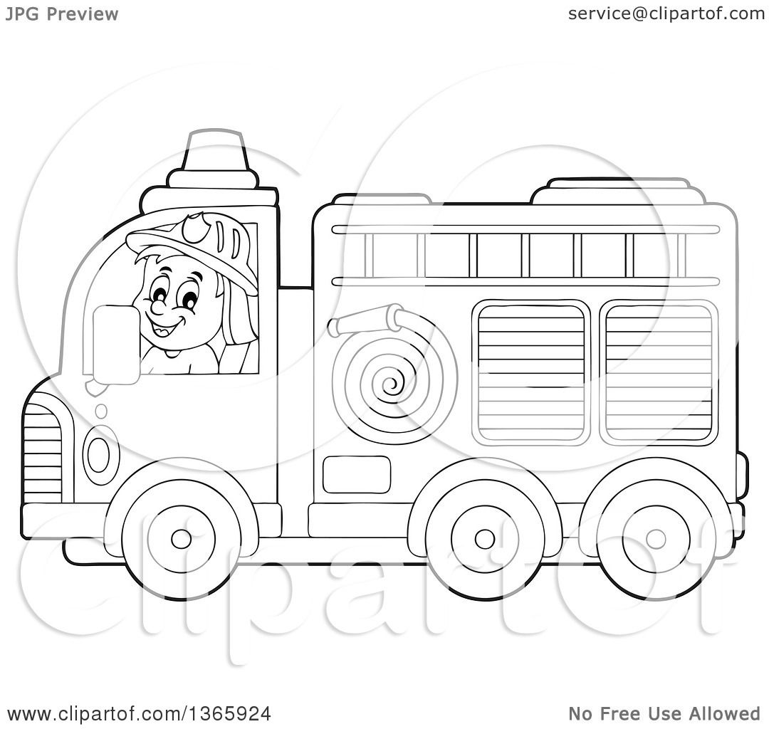 Clipart Of A Cartoon Black And White White Male Fireman