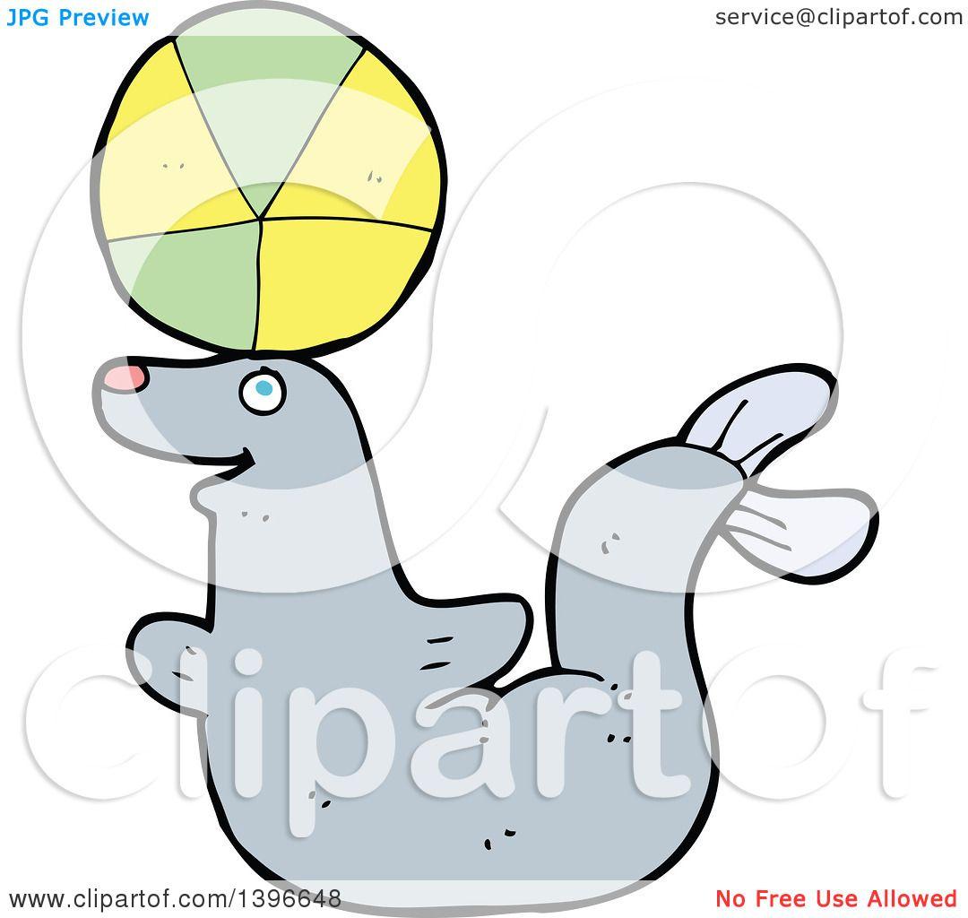 Clipart Of A Cartoon Gray Seal Royalty Free Vector