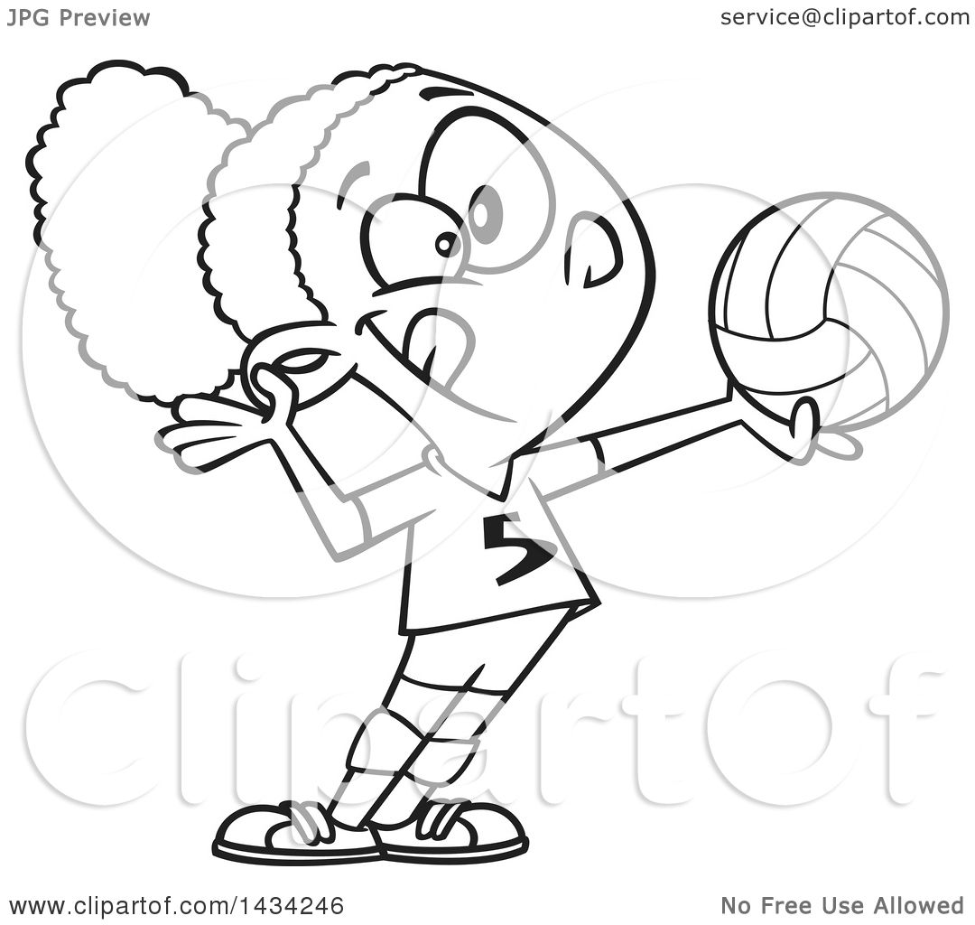Clipart Of A Cartoon Lineart Athletic Black Girl Serving A