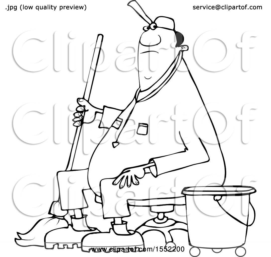 Clipart Of A Cartoon Lineart Black Male Custodian Janitor