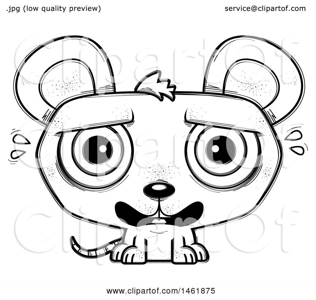 Clipart Of A Cartoon Lineart Scared Evil Mouse