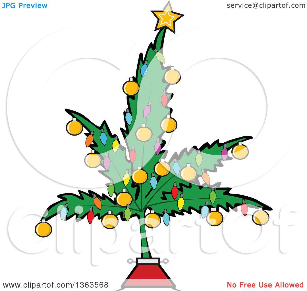 clipart of a cartoon marijuana pot leaf weed christmas tree decorated
