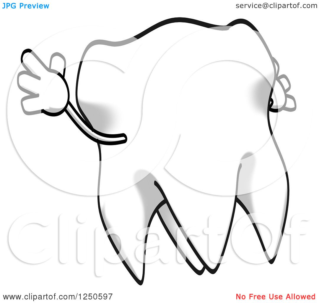 Clipart Of A Cartoon Tooth Jumping