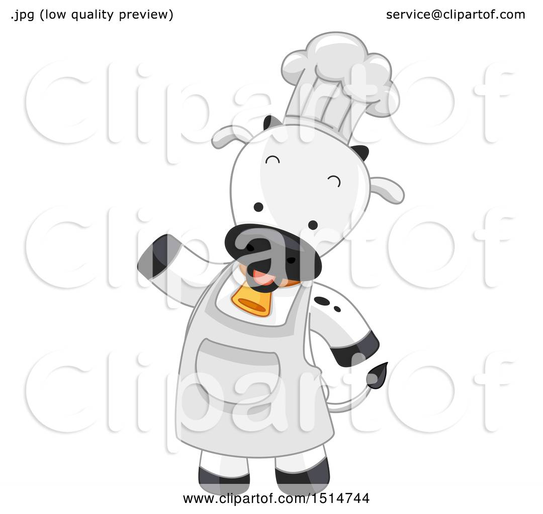 Clipart Of A Chef Cow Mascot