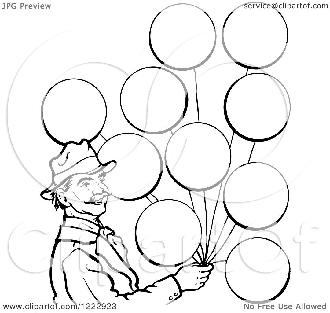 Clipart Of A Circus Man With Balloons In Black And White