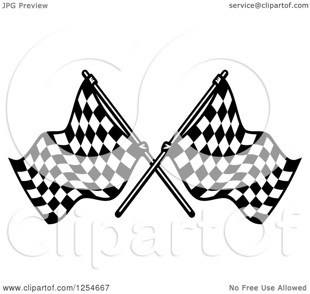 Clipart Of A Crossed Black And White Checkered Racing