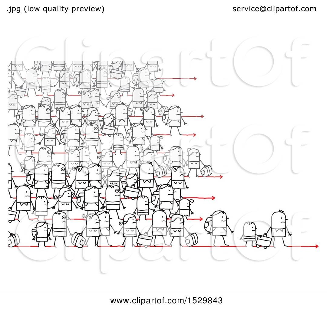 Clipart Of A Crowd Of Stick People Refugees Migrating