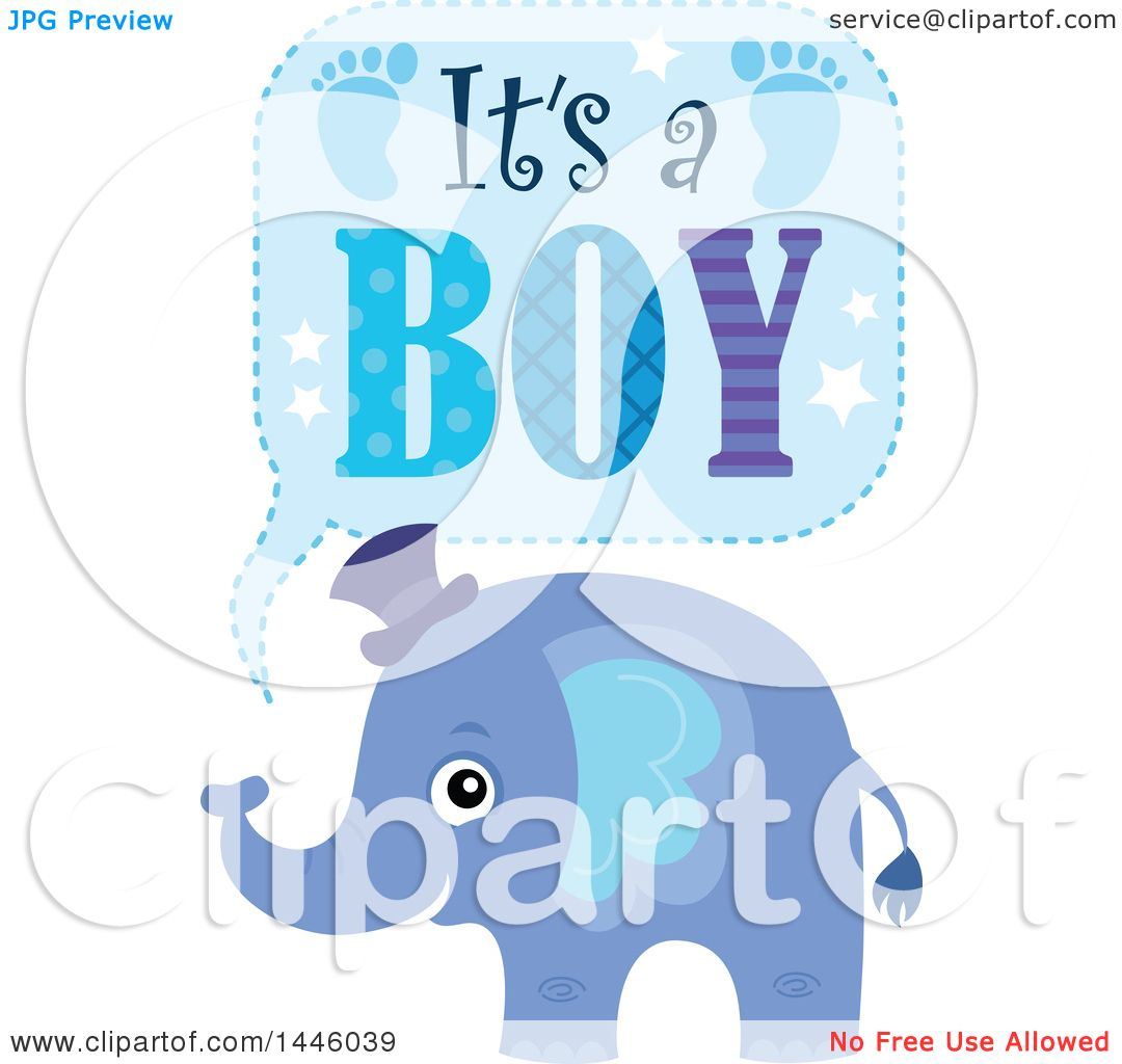 Download Clipart of a Cute Blue Elephant with Its a Boy Text ...