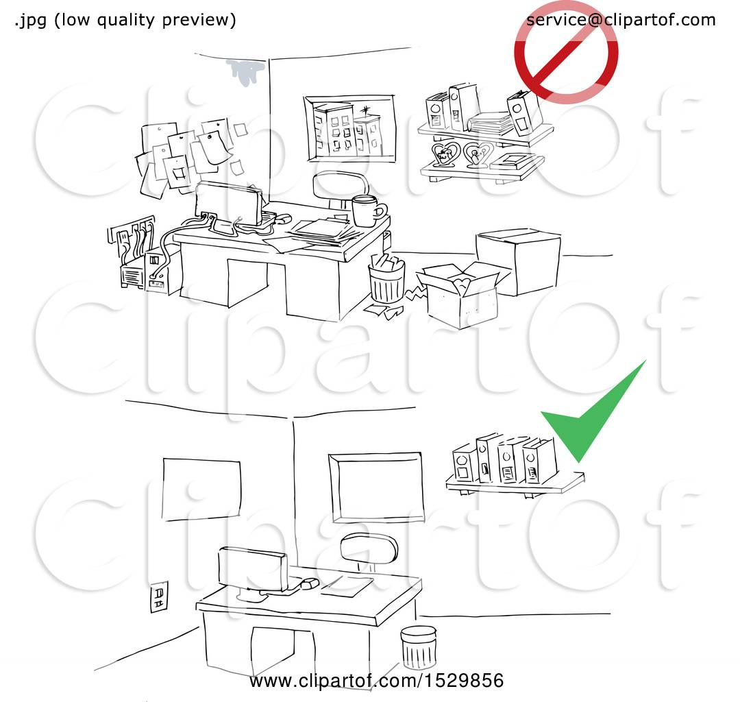 Clipart Of A Dirty Office And A Scene With A Clean Office