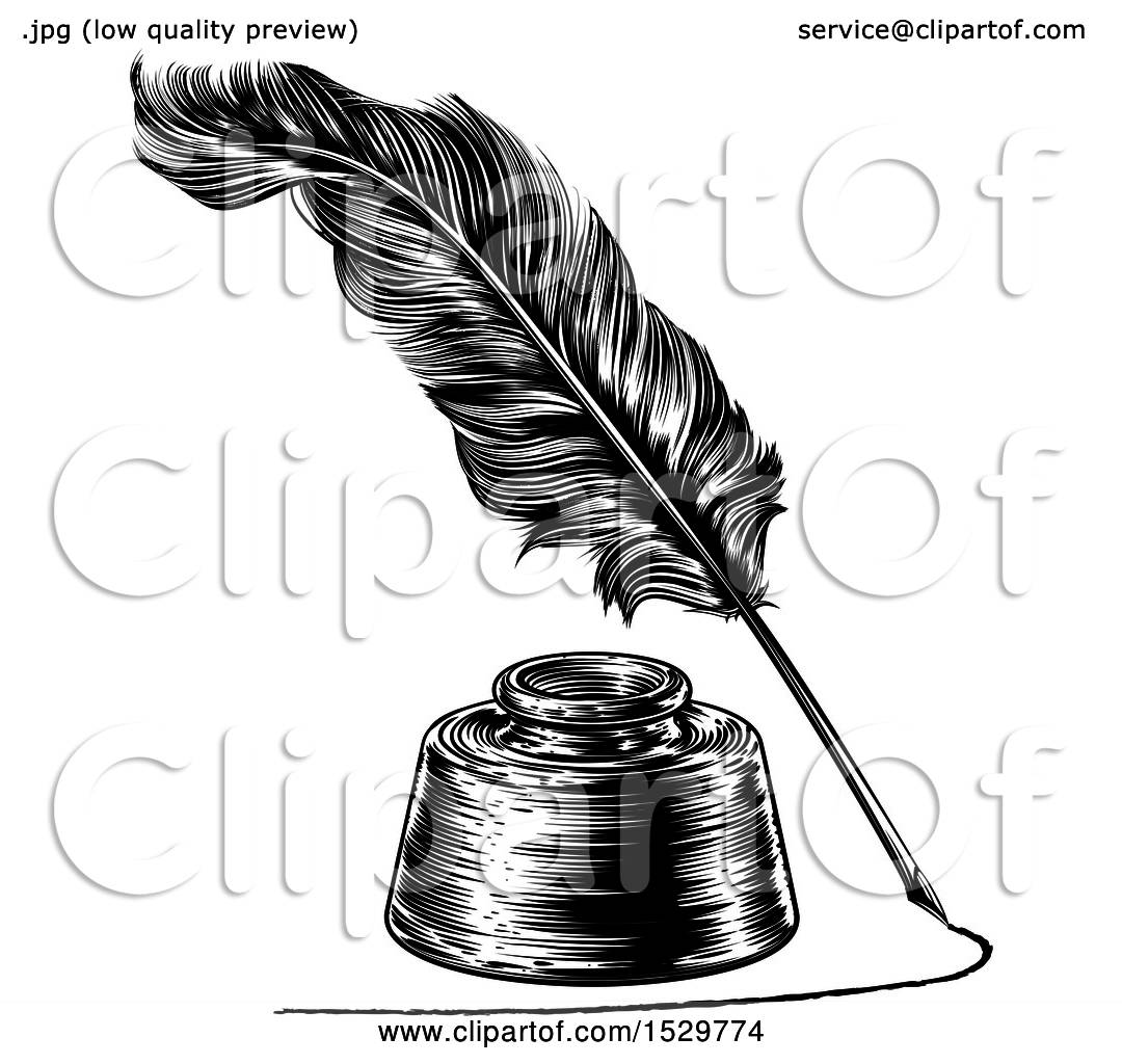 Clipart Of A Feather Quill Pen Drawing A Line Around An