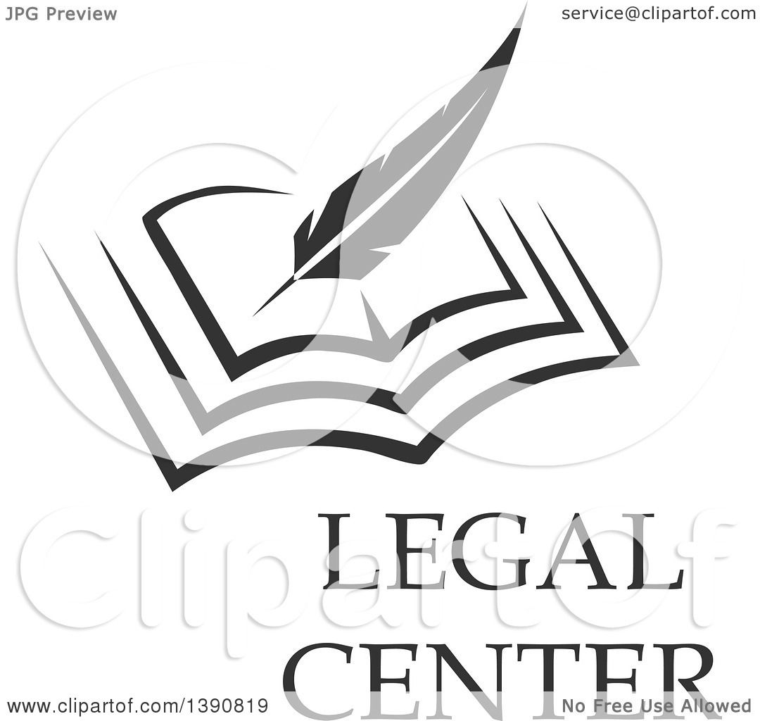 Clipart Of A Feather Quill Writing In A Book With Legal