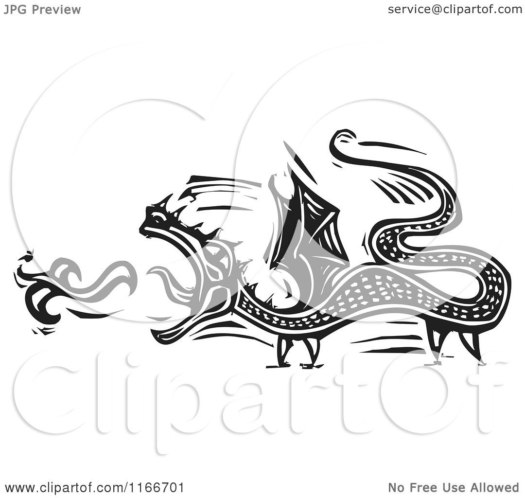 Clipart Of A Fire Breathing Dragon Black And White Woodcut