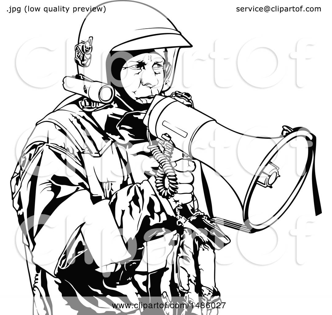 clipart of a fireman with a megaphone