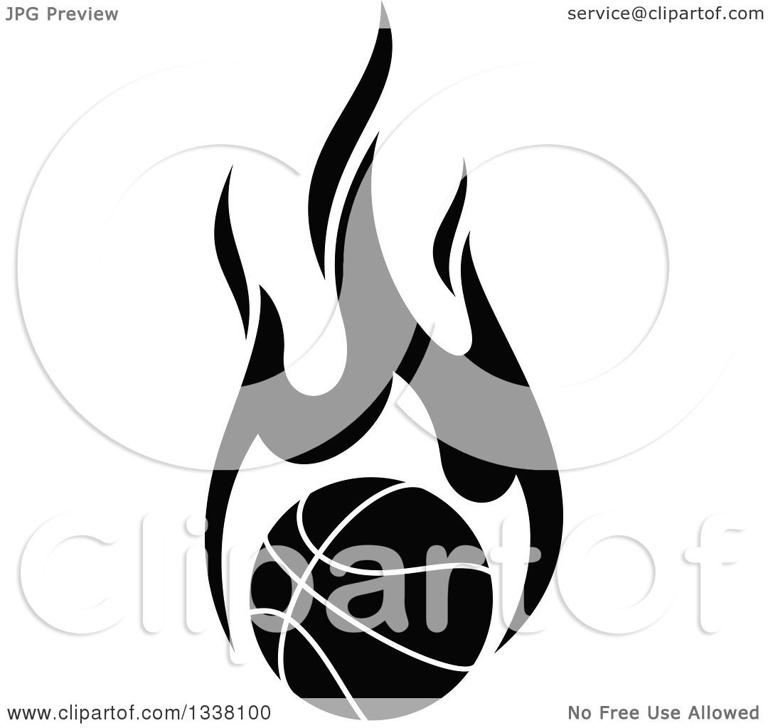 Clipart Of A Flaming Black And White Basketball