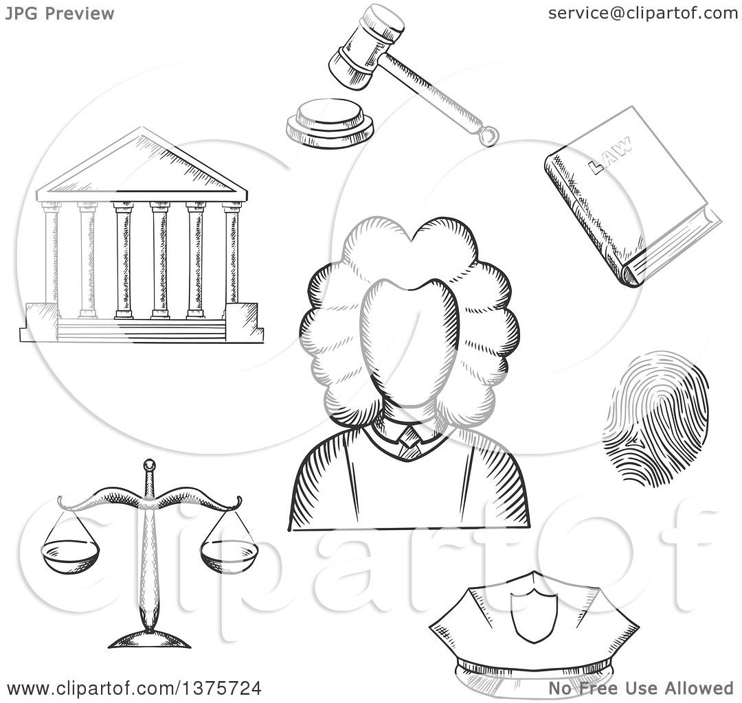 Clipart Of A Gray Sketched Judge Courthouse Law Book