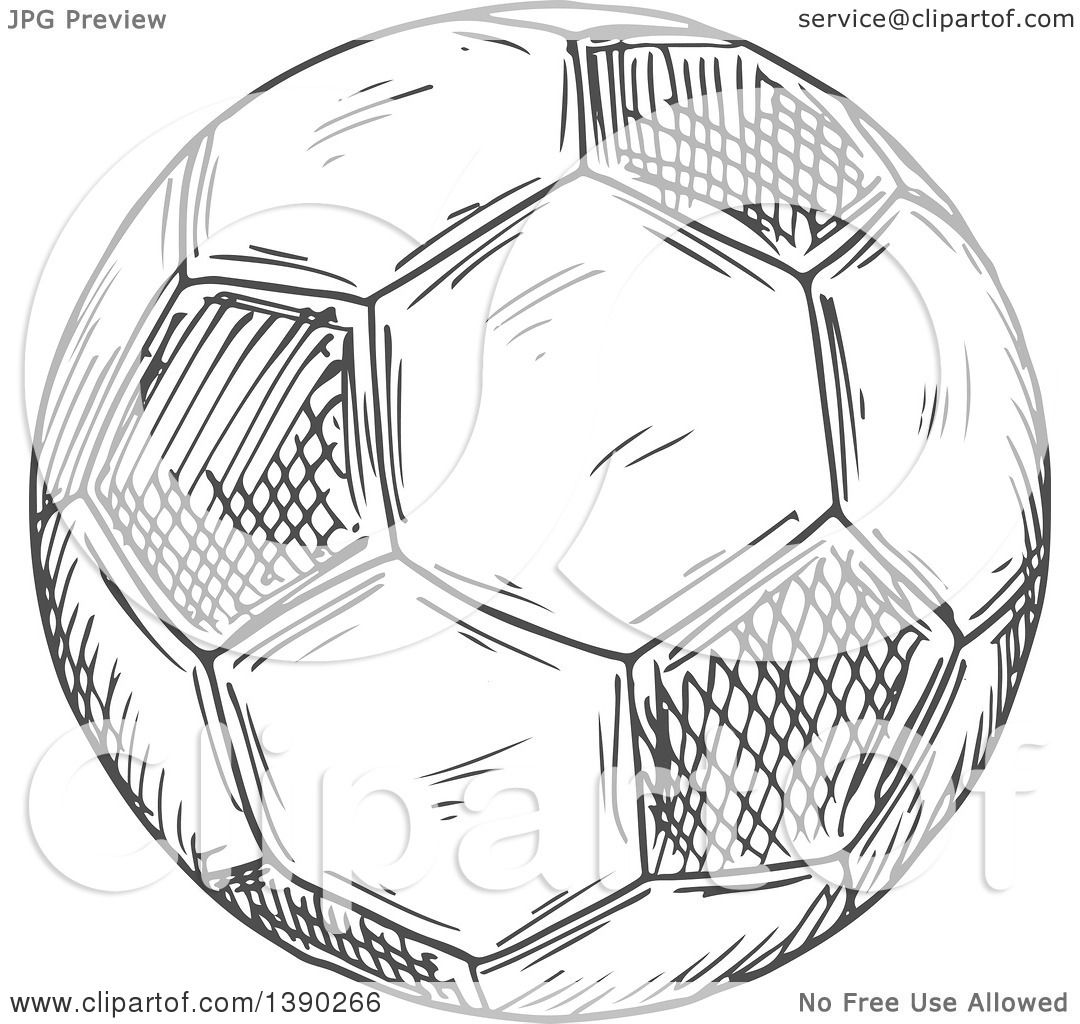 Clipart Of A Gray Sketched Soccer Ball