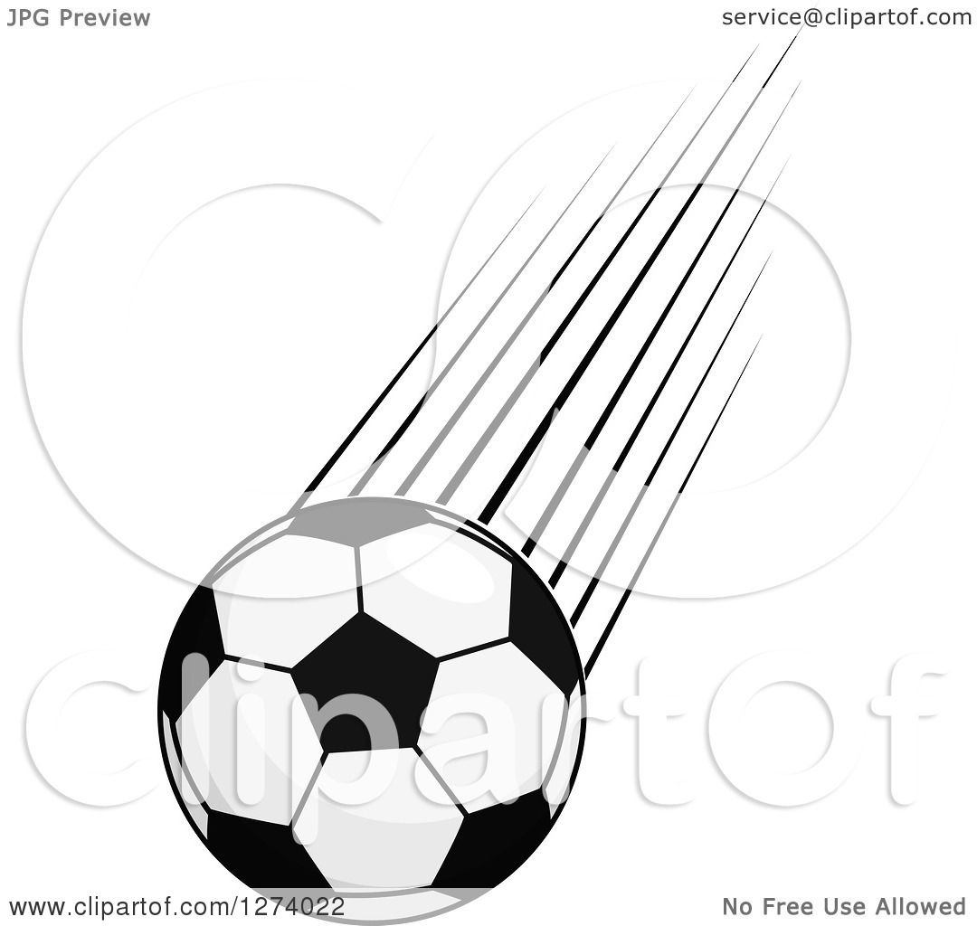 Clipart Of A Grayscale Flying Soccer Ball 2
