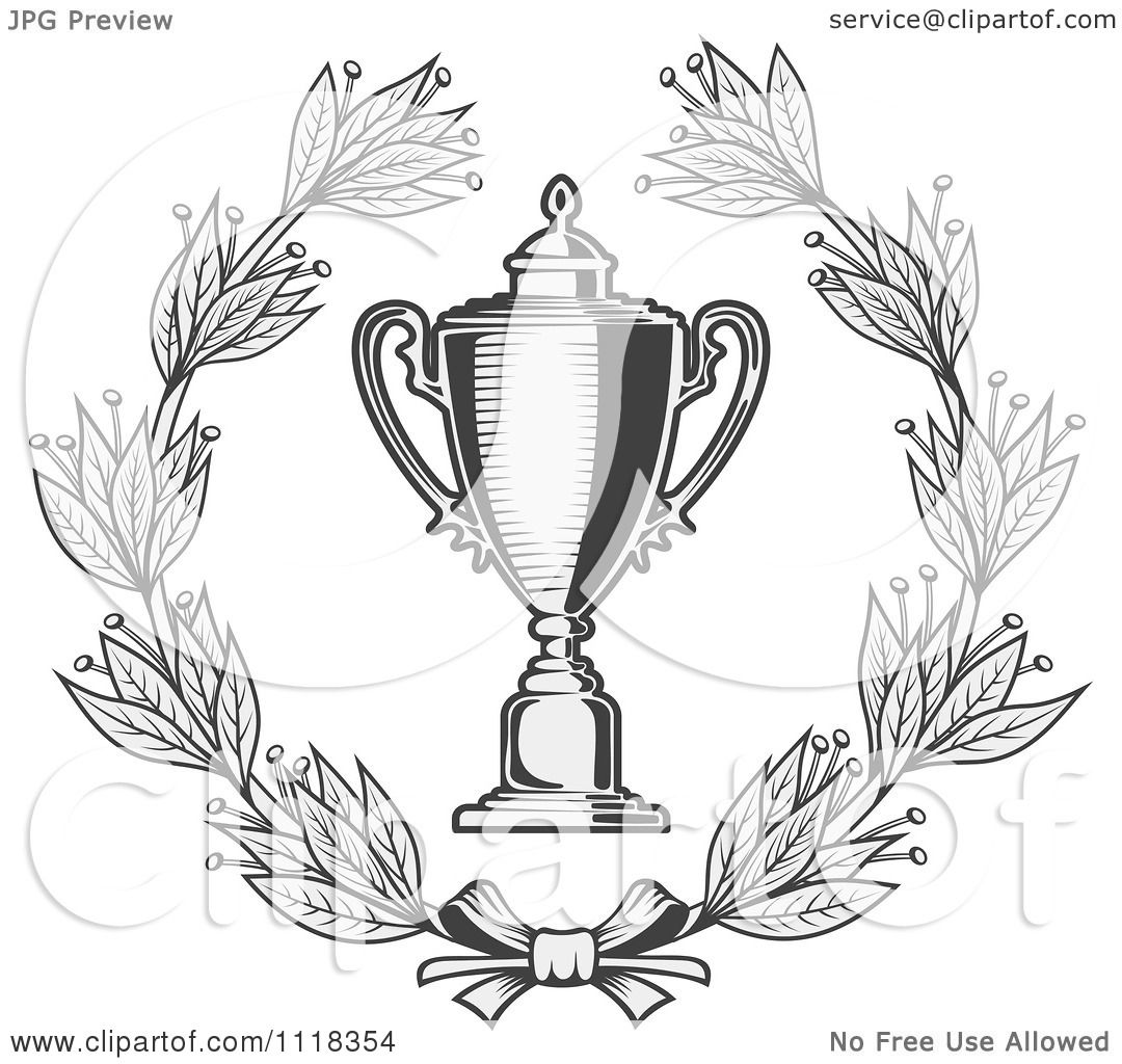 Clipart Of A Grayscale Wreath And Trophy Cup 2