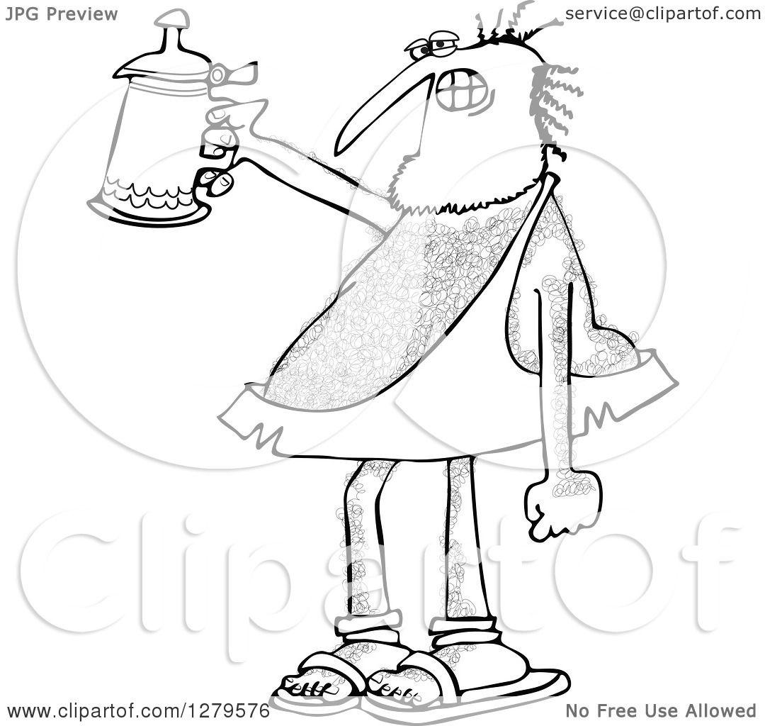 Clipart Of A Hairy Caveman Cheering With A Beer Stein