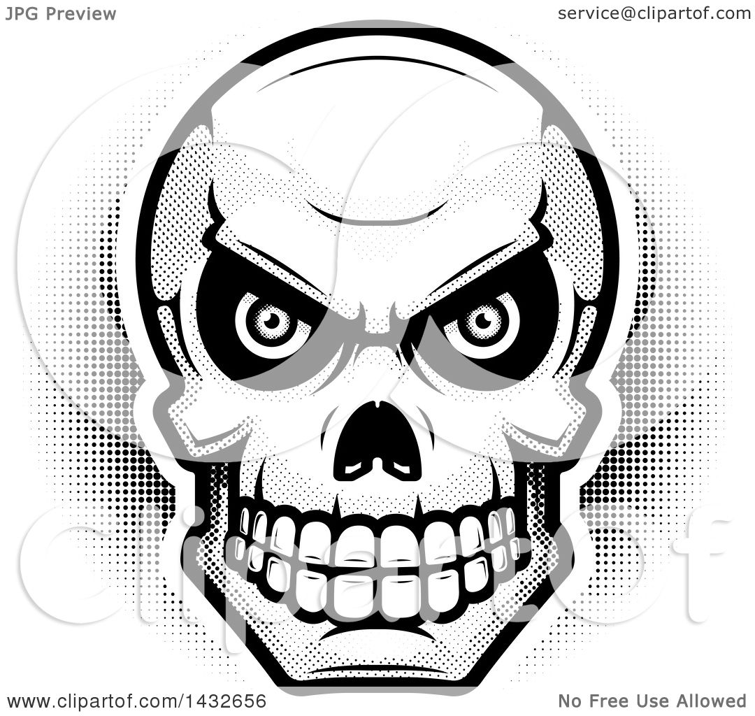 Clipart Of A Halftone Black And White Evil Human Skull
