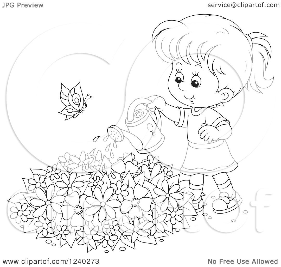 Clipart Of A Happy Black And White Girl Watering A Garden