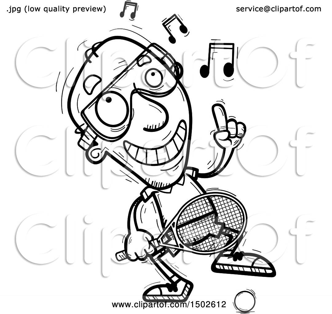 Clipart Of A Happy Dancing Senior Man Racquetball Player