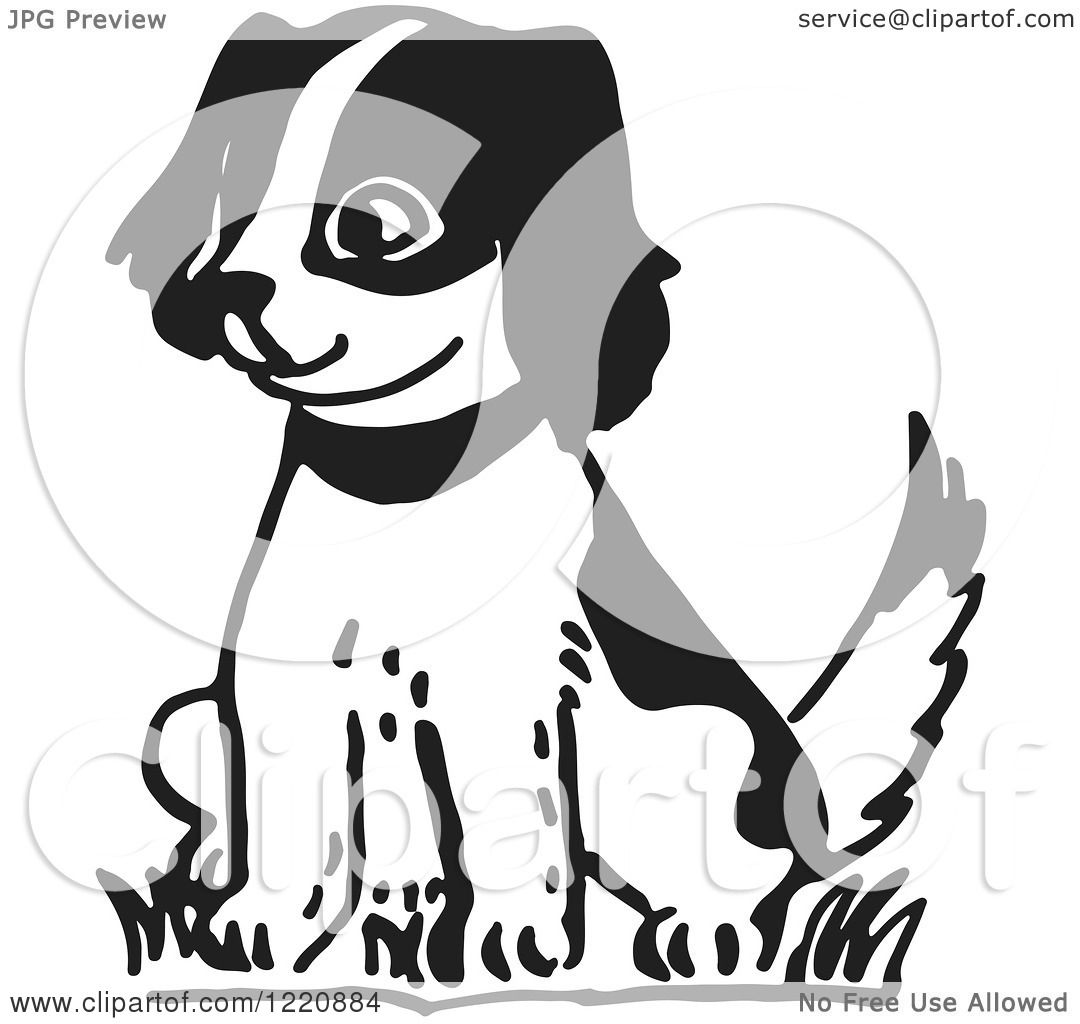 Clipart Of A Happy Puppy Sitting In Black And White