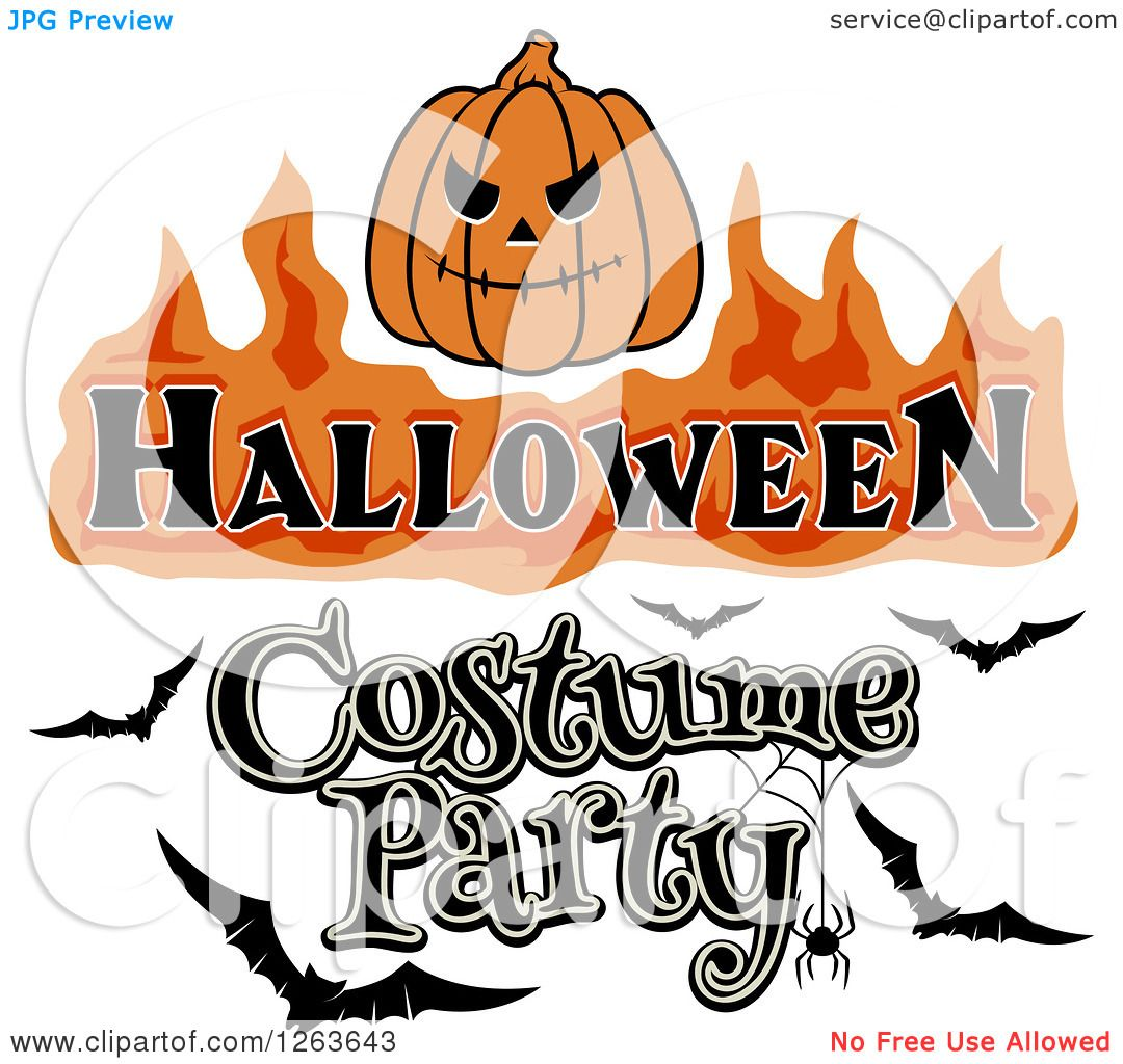 Clipart Of A Jackolantern With Halloween Costume Party