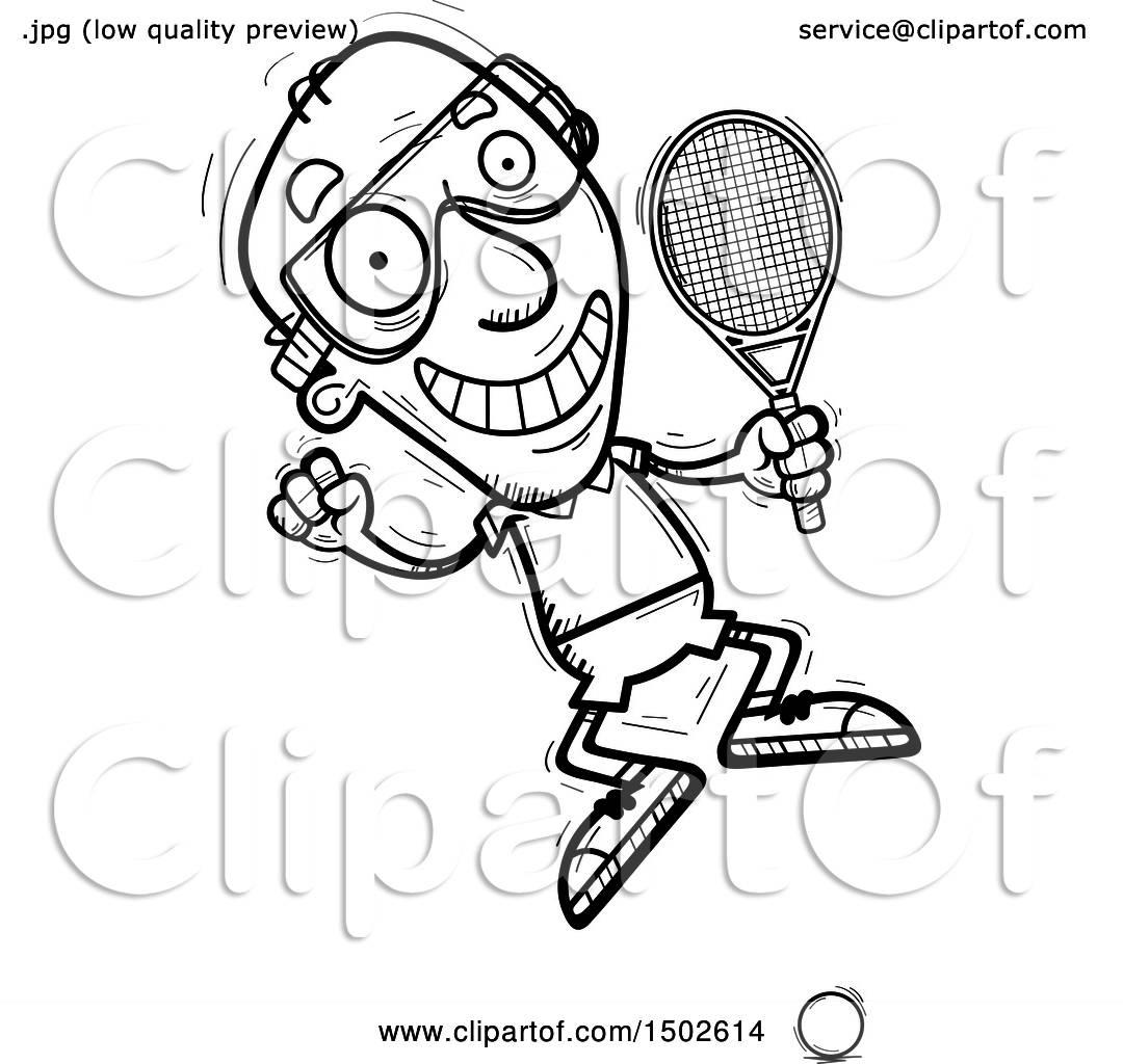 Clipart Of A Jumping Senior Man Racquetball Player