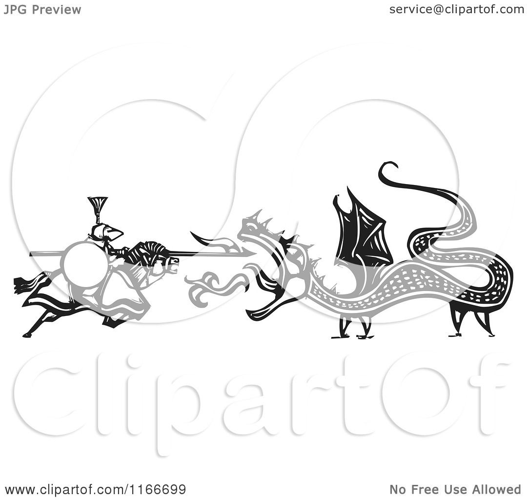 Clipart Of A Knight Battling A Fire Breathing Dragon Black