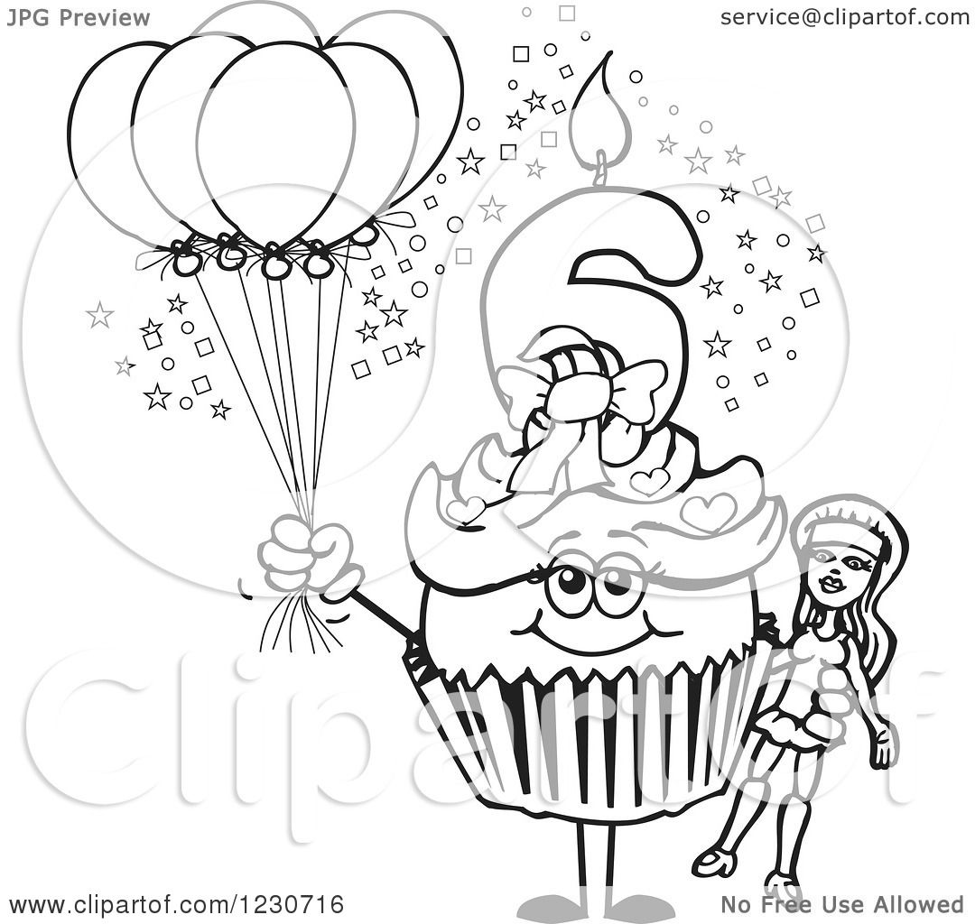 Clipart Of A Line Art Girls Sixth Birthday Cupcake With A