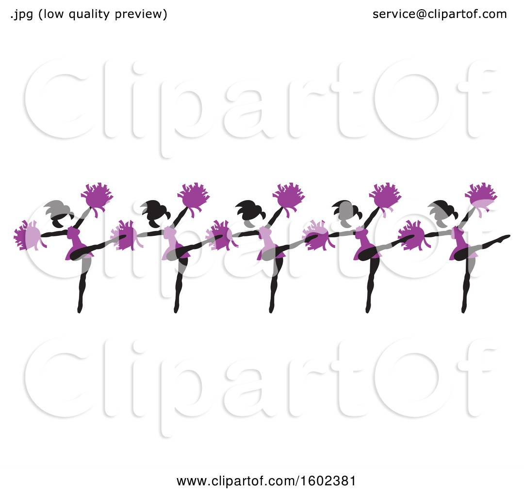 Clipart Of A Line Of Kicking Cheerleaders In Purple