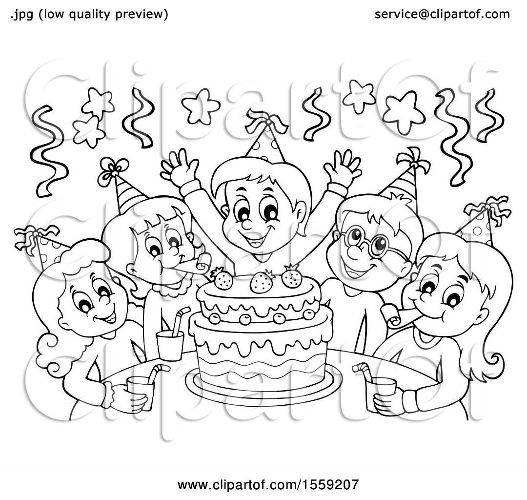 Clipart Of A Lineart Group Of Children Celebrating At A