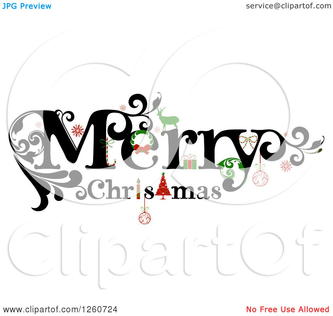 Clipart Of A Merry Christmas Greeting