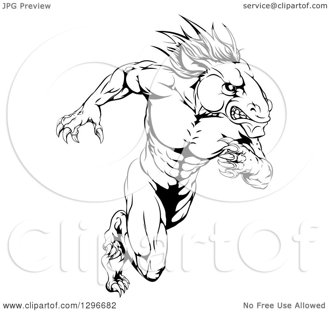 Clipart Of A Muscular Aggressive Black And White Stallion