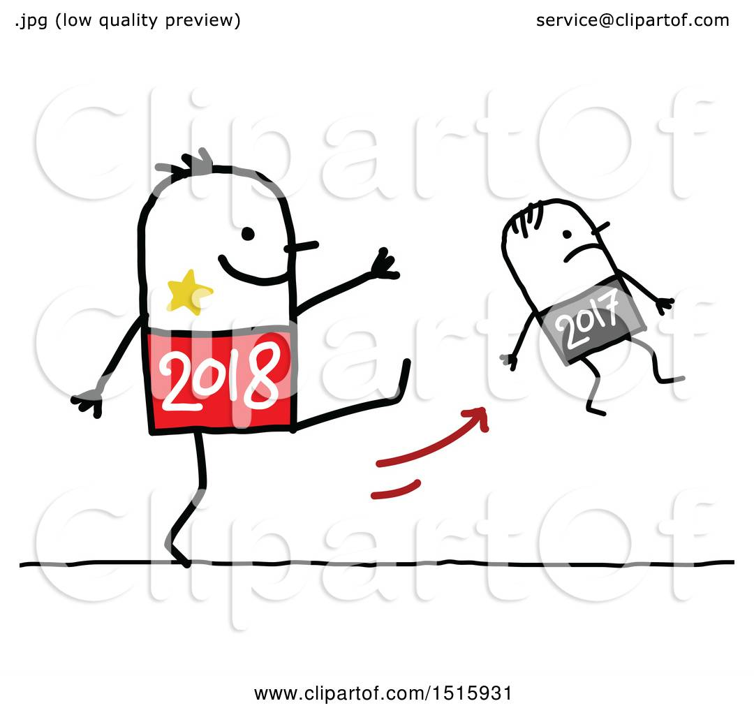 Clipart Of A New Year Stick Man Kicking Last Year