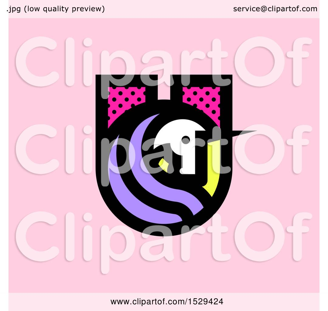 Clipart Of A Patterned Letter U Unicorn Design Over Pink