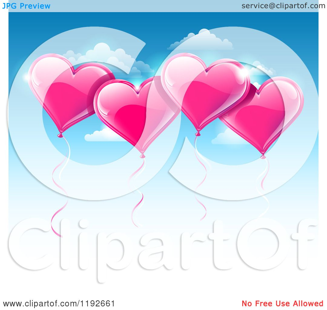 Download Clipart of a Pink Valentines Day Heart Balloons Floating ...