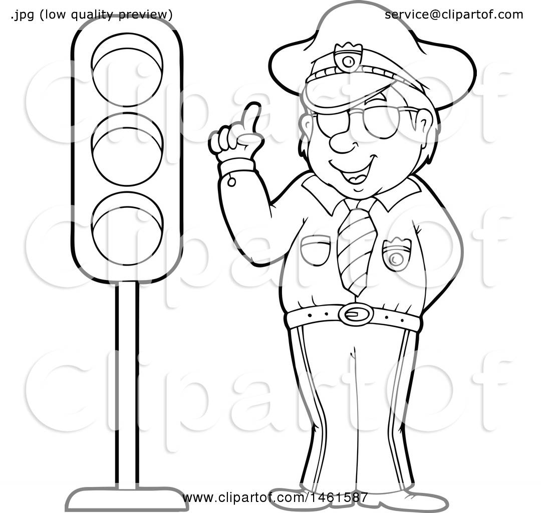 Clipart Of A Police Officer By A Traffic Light